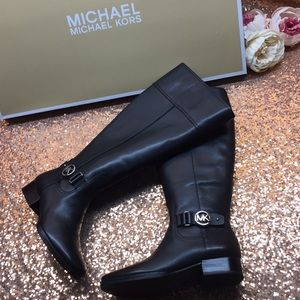 Michael Kors Black Leather Tall Boots 5.5M WC